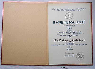 DDR Urkunde Medaille für treue Dienste im Gesundheitswesen in Gold (114340)