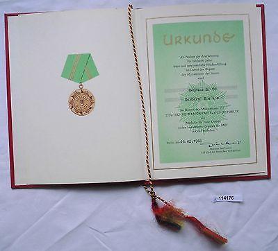 DDR Urkunde Medaille für treue Dienste Ministerium des Innern in Gold (114176)