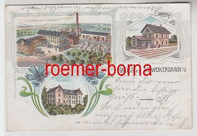 75581 Ak Lithografie Gruss aus Schweikershaun i.S. Möbelfabrik, Bahnhof 1904