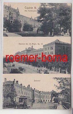 74179 Feldpost Ak Cüstrin Kostrzyn nad Odrą Bahnhof usw. 1915