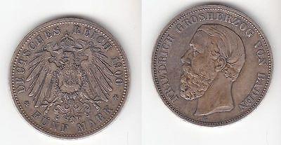 5 Mark Silbermünze Baden Großherzog Friedrich 1900 Jäger 29  (111181)
