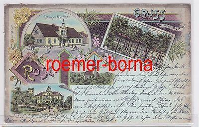 09616 Ak Lithografie Naumburg am Bober Gruss vom Gasthaus Zur Rose 1902