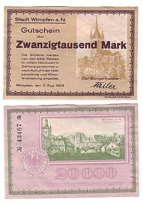 20000 Mark Banknote Inflation Stadt Wimpfen a.N. 11.08.1923 (112411)