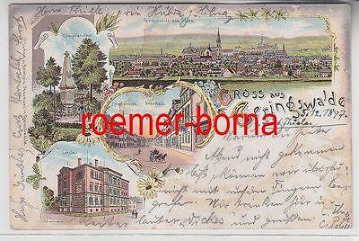 74888 Ak Lithografie Gruss aus Geringswalde Hauptstrasse, Schule usw. 1897