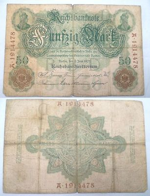 Banknote 50 Reichsmark 8.6.1907 Rosenberg. Nr.29 (BN1561)