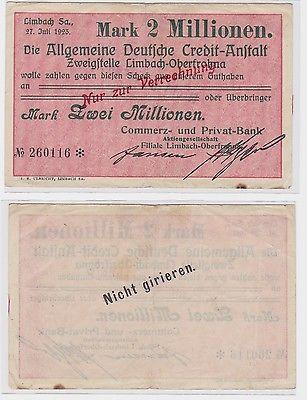 2 Millionen Mark Banknote allg. dt. Credit Anstalt Limbach 27.7.1923 (121531)