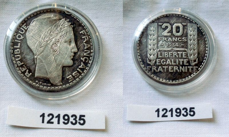 20 Franc Silber Münze Frankreich 1934 (121935)