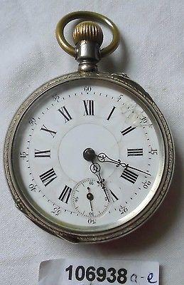 Schöne Herren Taschenuhr 800er Silber um 1920 (106938)