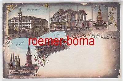 77592 Ak Lithografie Gruss aus Halle a.S Bahnhof, Stadttheater usw. um 1900