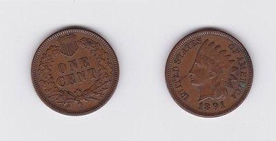 1 Cent Kupfer Münze Usa 1891 119887 Nr 232612513403 Oldthing