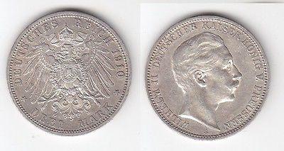 3 Mark Silber Münze Preussen Kaiser Wilhelm II 1910 (114897)