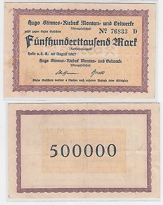 500000 Mark Banknote Halle Hugo Stinnes Riebeck Montan August 1923 (111038)