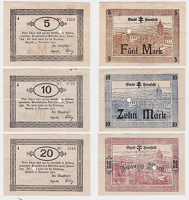 5, 10 & 20 Mark Banknoten Notgeld Stadt Hersfeld 4.11.1918 (120618)