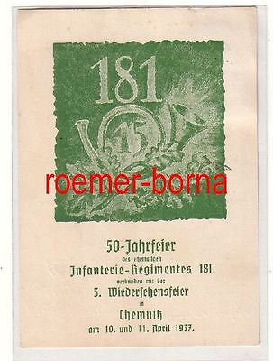 80429 Künstler Ak 50 Jahrfeier ehem. Infanterie-Regiment 181 Chemnitz 1937