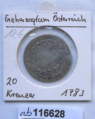 20 Kreuzer Silber Münze Ungarn KB Kremnitz Joseph II 1783 (116628)