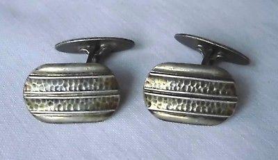 Hübsche Manschettenknöpfe 835er Silber mit Hammerschlagoptik um 1930 (104734)
