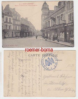 70052 Feldpost Ak Saint Quentin Rue de la Sellerie Flieger Abteilung Nr.7 1916