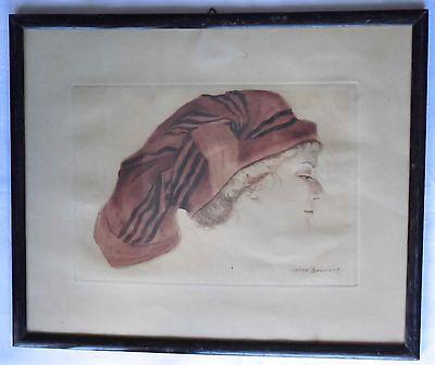 Orig. Bild Max Brüning Frau m. Kopftuch gerahmt um 1920 (DI2591)