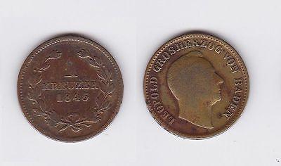 1 Kreuzer Bronze Münze Baden 1845 (117276)