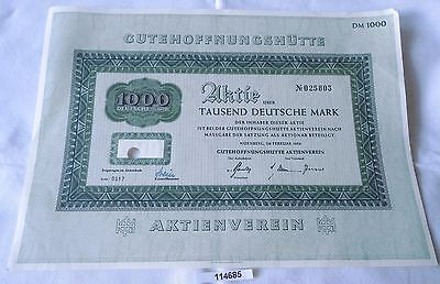 1000 Mark Aktie Gutehoffnungshütte Nürnberg im Februar 1954 (114685)