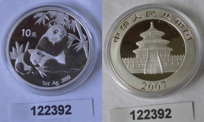 10 Yuan Silber Münze China Panda 1 Unze Feinsilber 2007 Stgl. (122392)