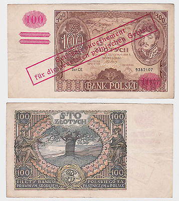 100 Zloty Banknote Polen Generalgouvernement Krakow 1934 überstempelt (121815)