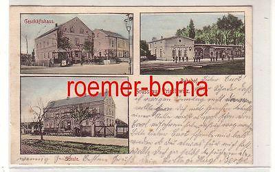 80293 Mehrbild Ak Gruß aus Priestewitz Geschäftshaus, Bahnhof, Schule 1905