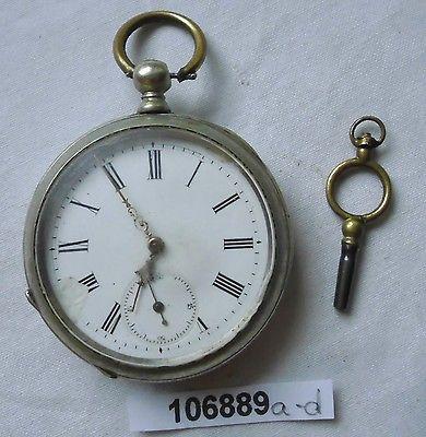 Schöne Nickel Herren Taschenuhr mit Schlüsselaufzug um 1910 (106889)