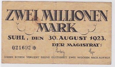 2 Millionen Mark Banknote Stadt Suhl 30.08.1923 (122587)