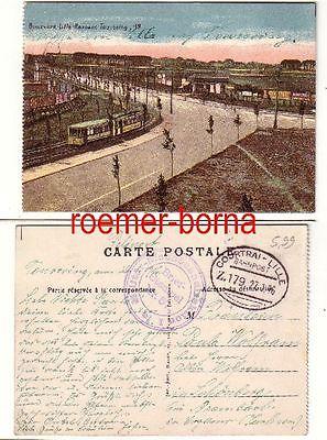 76454 Ak Boulevard-Lille-Roubaix-Tourcoing Feldpost 1916 Militär-Eisenbahn