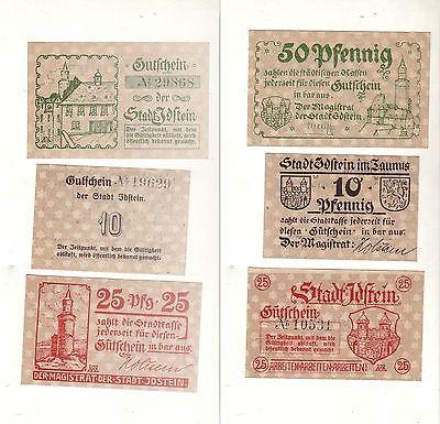 3 Banknoten Notgeld Stadt Idstein in Hessen um 1920 (112903)
