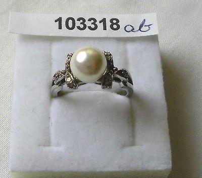 Entzückender Damen-Ring Silber 925 mit großer Perle und Schleifen (103318)