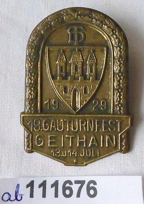 Altes Blech Abzeichen 19.Gauturnfest Geithain 1929 (111676)