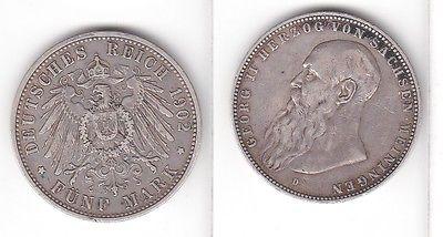 5 Mark Silbermünze Sachsen Meiningen Herzog Georg II 1902 Jäger 153 b  (110029)
