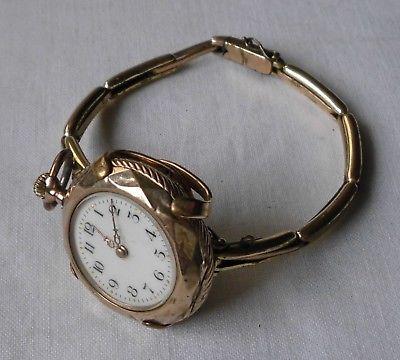 Alte Damen Taschenuhr Gold mit vergoldetem Armband um 1910 (118056)