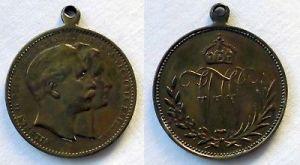 Bronze Medaille Wilhelm II Deutscher Kaiser - Augusta Victoria Kaiser (118050)