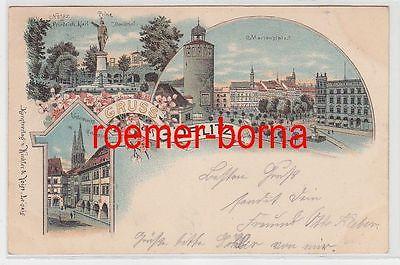 74038 Ak Lithografie Gruss aus Görlitz Marienplatz Untermarkt usw. 1901