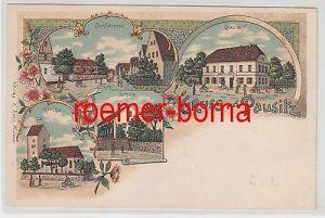 79401 Ak Lithografie Gruss aus Pausitz Dorfstrasse, Gasthof, Kirche usw. um 1900