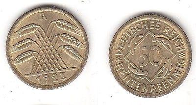 50 Rentenpfennig Messing Münze Deutsches Reich 1923 A Jäger 310