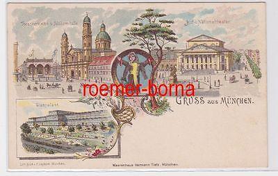 84364 Ak Lithografie Gruss aus München Glaspalast, Nationaltheater usw. um 1900