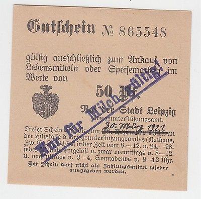 50 Pfennig Lebensmittel Gutschein Stadt Leipzig 30.03.1921 (120764)