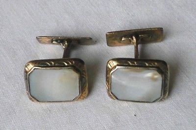 Schönes altes Paar Manschettenknöpfe aus 835er Silber Perlmutt (117732)