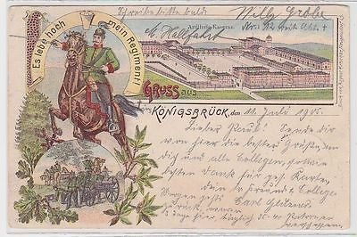 69326 Ak Lithographie Gruß aus Königsbrück Artillerie Kaserne 1905