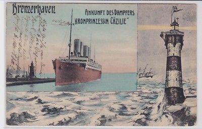 88633 Ak Bremerhaven Ankunft des Dampfers Kronprinzessin Cäzilie 1913