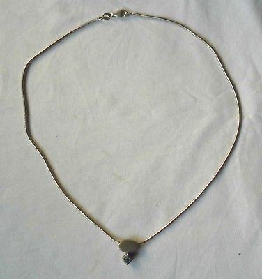 Schöne Damenkette Kette 925er Silber mit zierlichem Anhänger + Stein (101796)