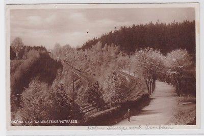 88155 AK Grüna i. Sa. - Rabensteiner-Strasse, Rabensteiner Wald mit Totenstein