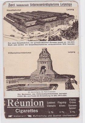 87265 Reklame AK Zwei kommende Sehenswürdigkeiten Leipzigs - Réunion Cigarettes