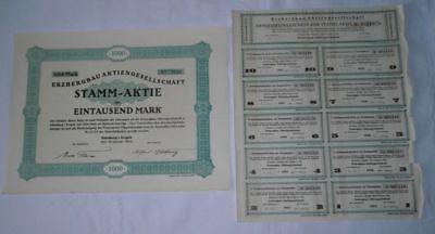 1000 Mark Stamm Aktie Erzbergbau Aktiengesellschaft Altenberg Jan. 1924 (121874)