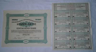 1000 Mark Stamm Aktie Erzbergbau Aktiengesellschaft Altenberg Jan. 1924 (121039)