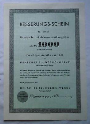 1000 Reichsmark Aktie Henschel Flugzeug-Werke Besserungs-Schein 1959 (120953)